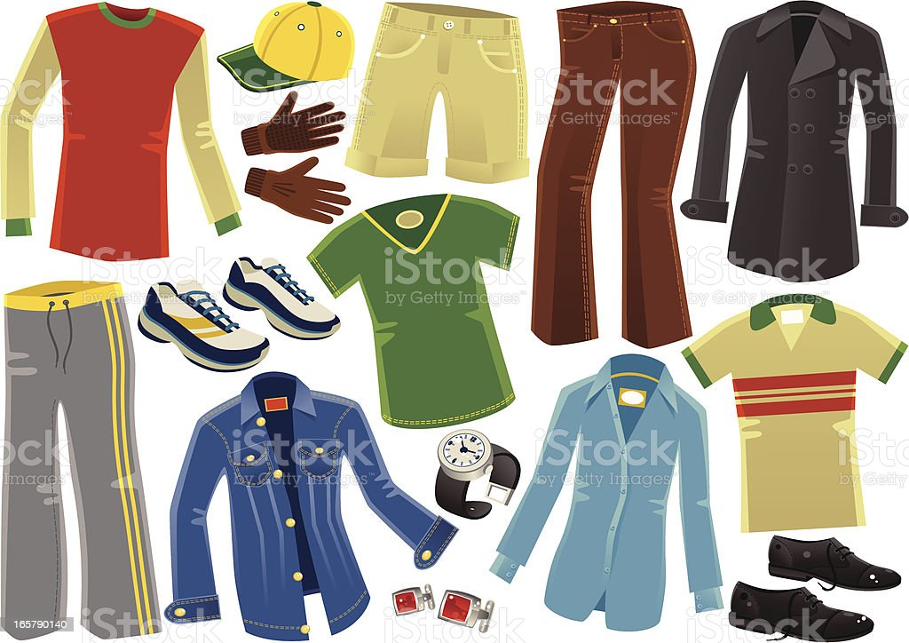 Assorted male clothing garments vector art illustration