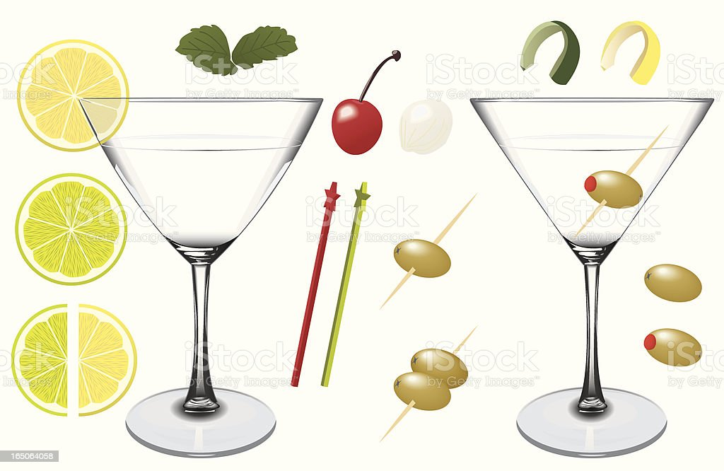 Assorted Martini Elements vector art illustration