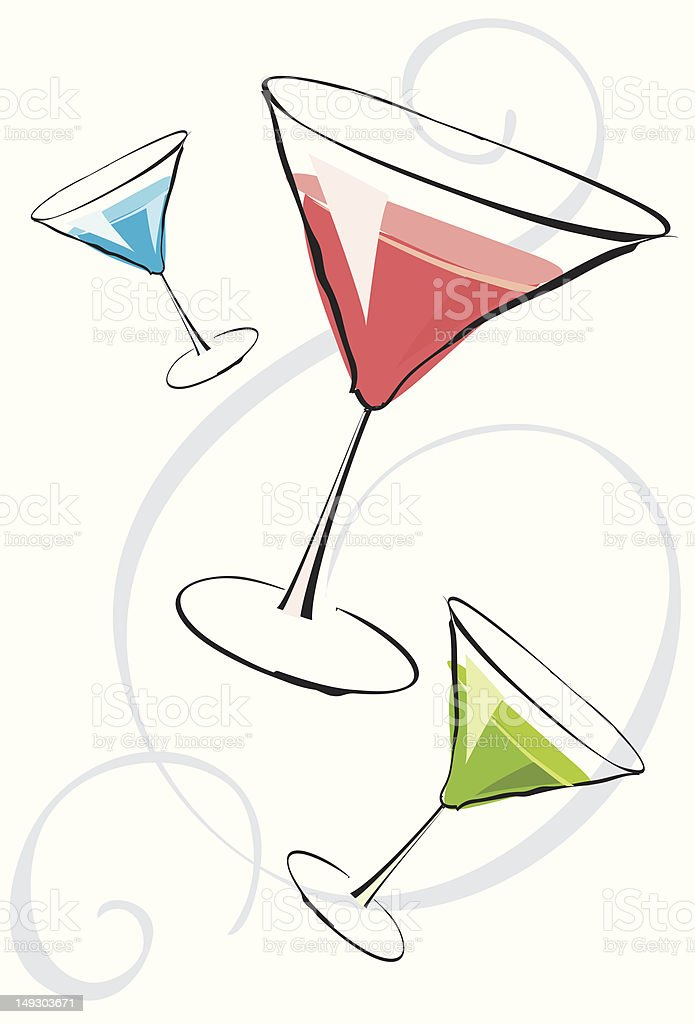 Assorted martinis royalty-free stock vector art