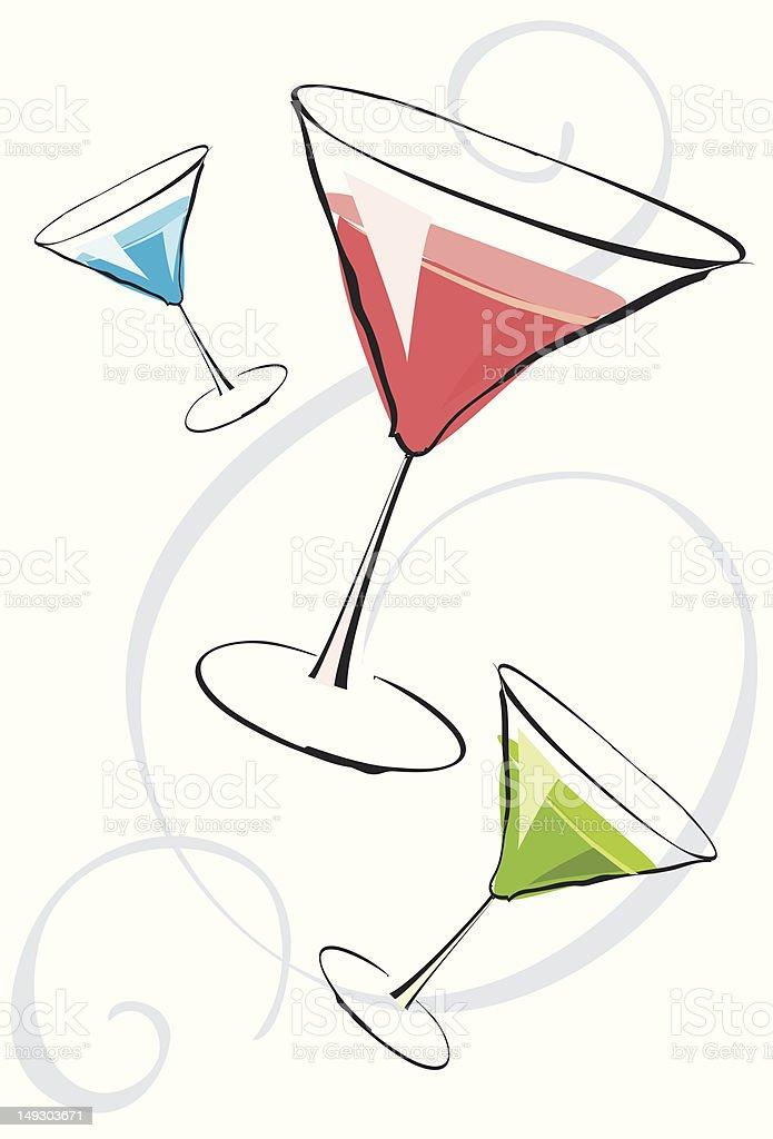 Assorted martinis vector art illustration