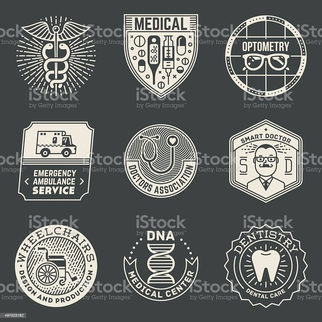Assorted Medical Insignias Logotypes Template Set On Dark. vector art illustration