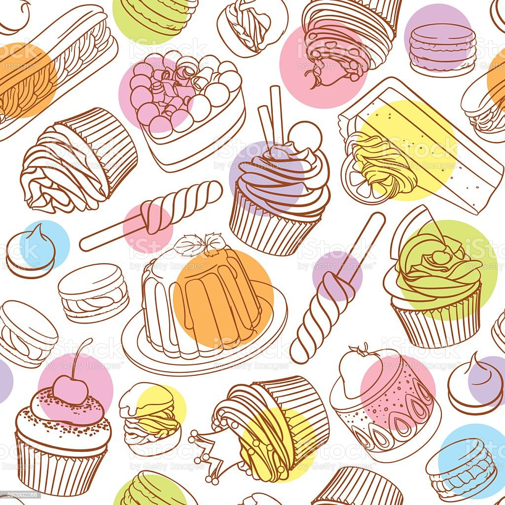 Assorted outlined colorful desserts. Seamless vector pattern with polka dots. vector art illustration