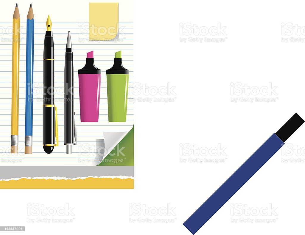 Assorted Pens, Pencils and note paper royalty-free stock vector art