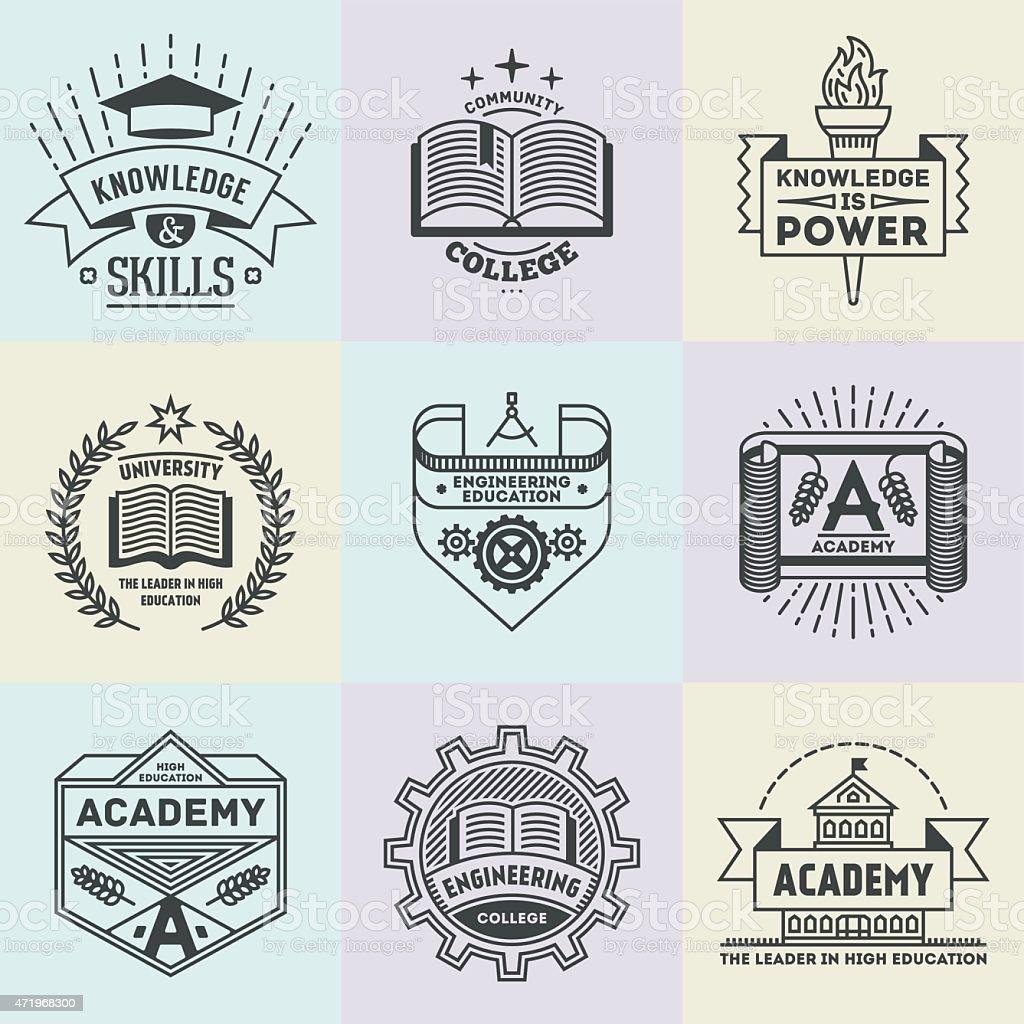 Assorted retro design insignias high education logotypes set 2. vector art illustration