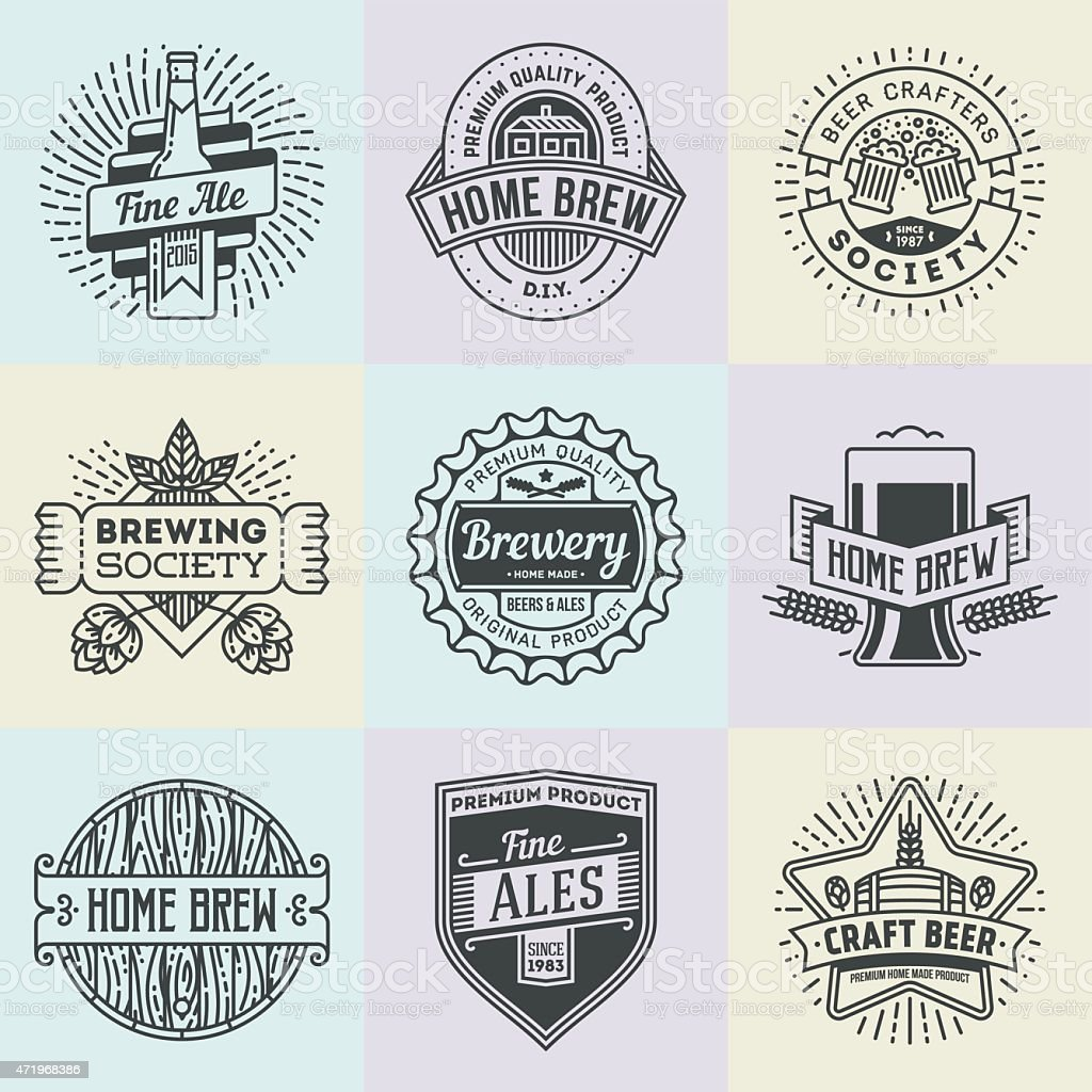 Assorted retro design insignias logotypes home brewery set 2. vector art illustration