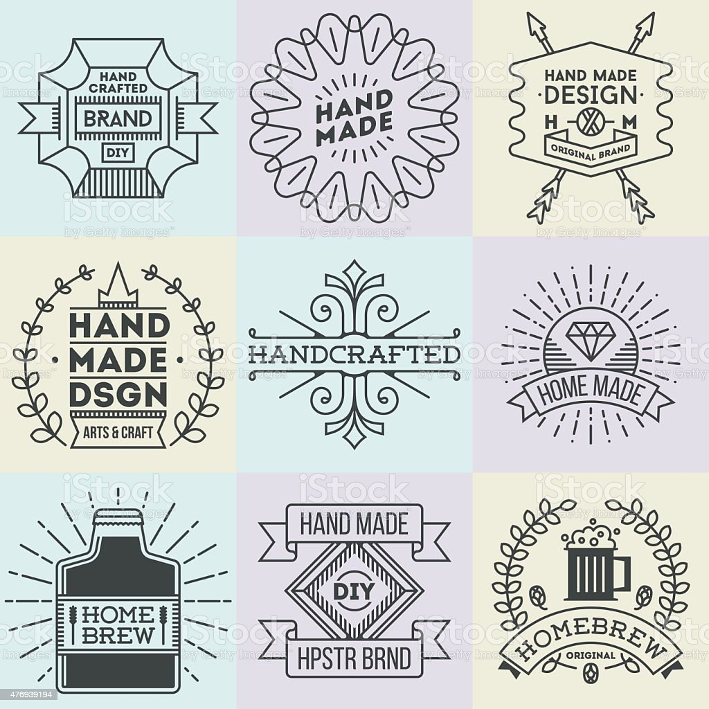 Assorted retro design insignias logotypes set 11. Vector vintage elements. vector art illustration