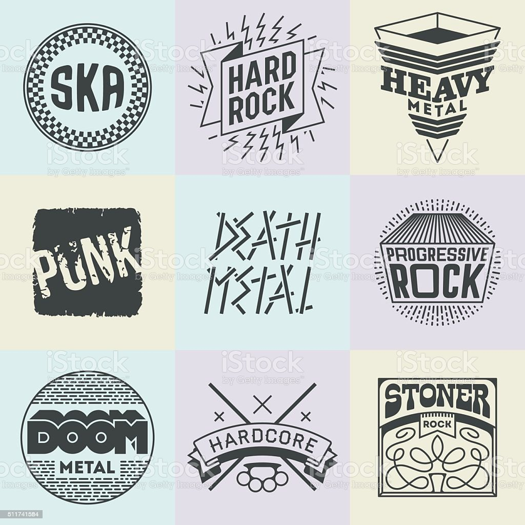 Assorted Rock Music Styles Genres Logotypes Set 1. vector art illustration