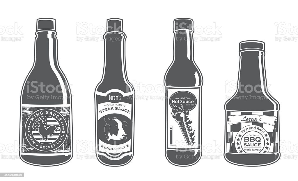 Assorted Sauce Bottles - Bold vector art illustration