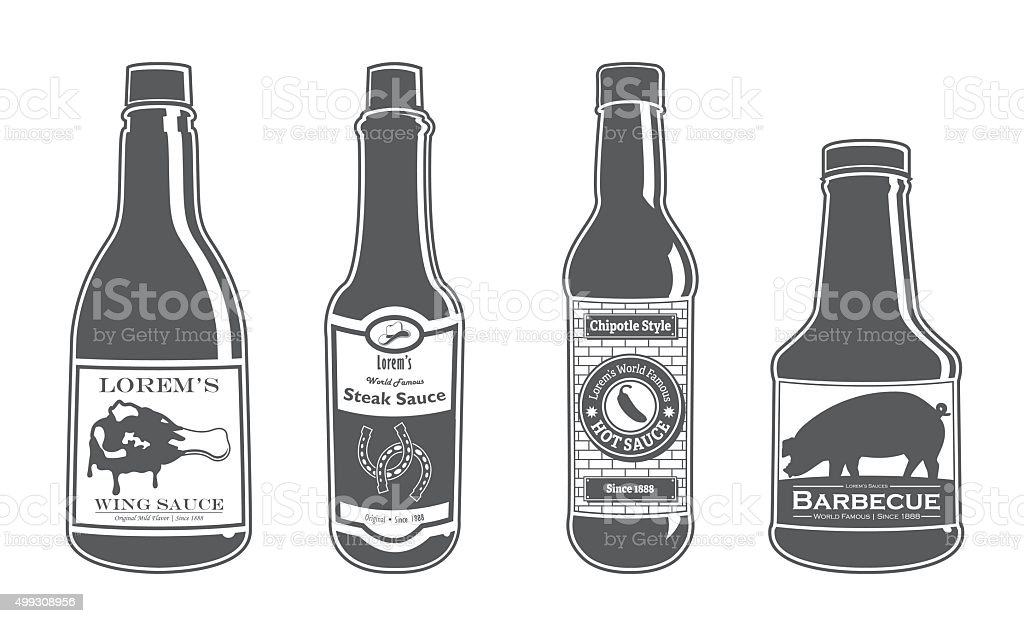 Assorted Sauce Bottles - Classy vector art illustration