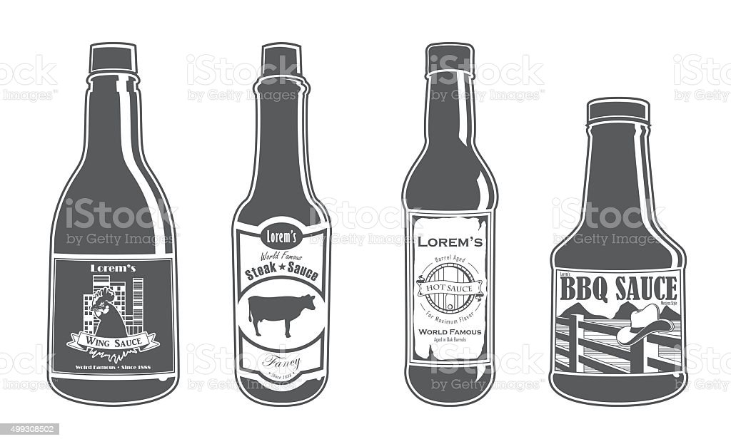 Assorted Sauce Bottles - Fancy vector art illustration