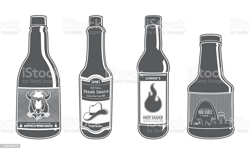 Assorted Sauce Bottles - Full Flavor vector art illustration