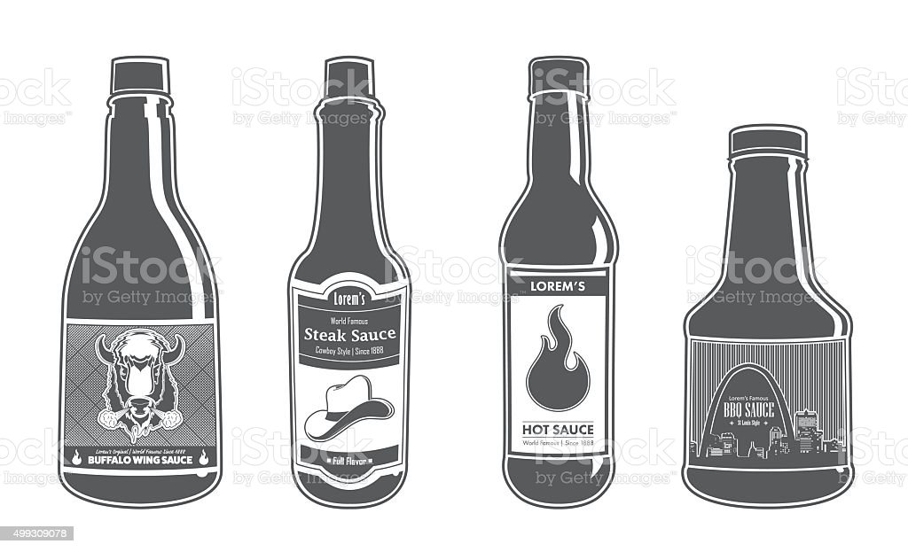Assorted Sauce Bottles - Full Flavor vector art illustration