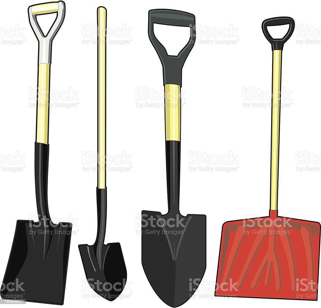 Assorted Shovels royalty-free stock vector art