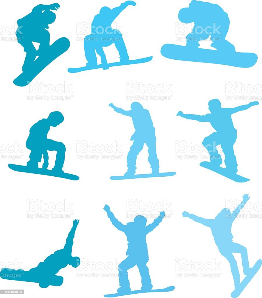 Assorted snowboarders to use in your design royalty-free stock vector art