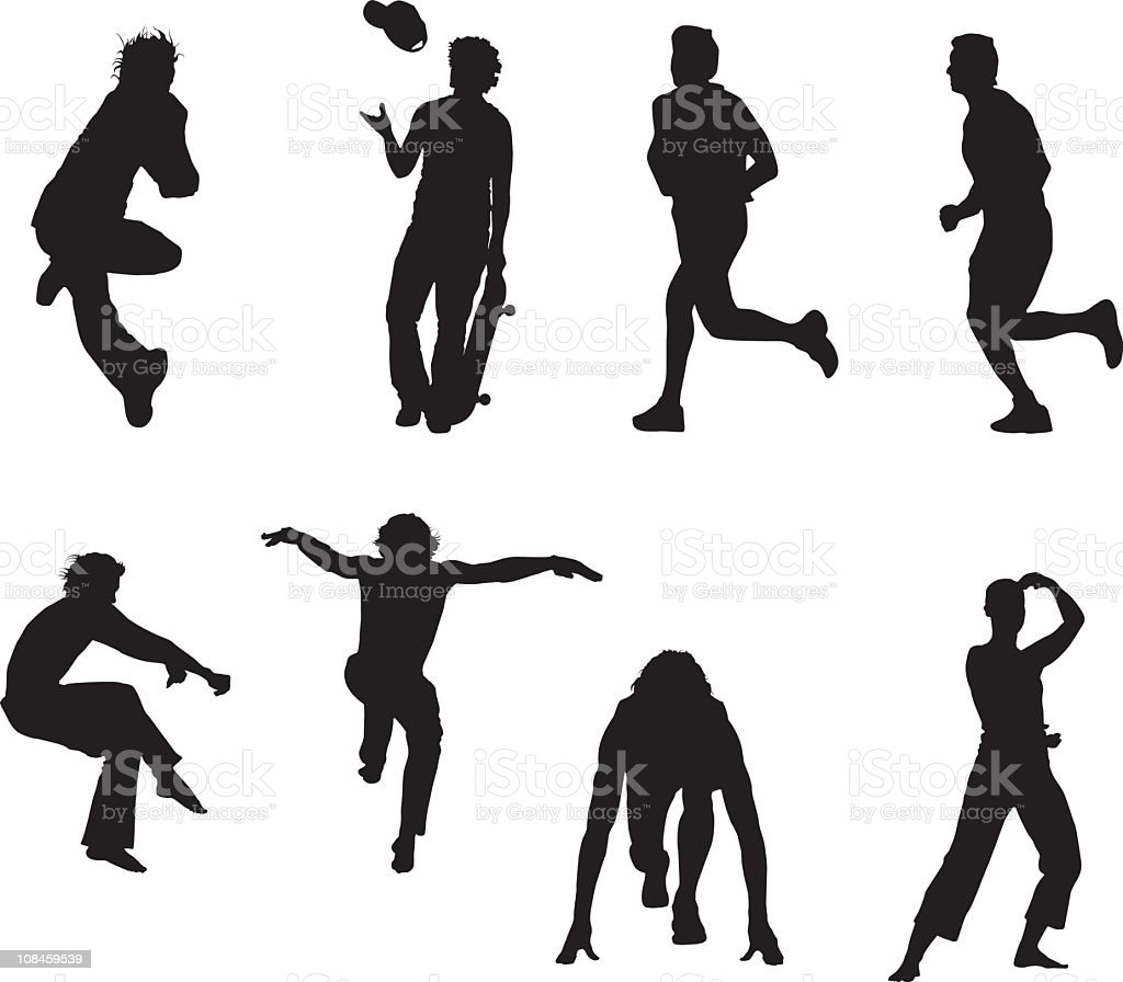 Assorted sporting silhouettes vector art illustration
