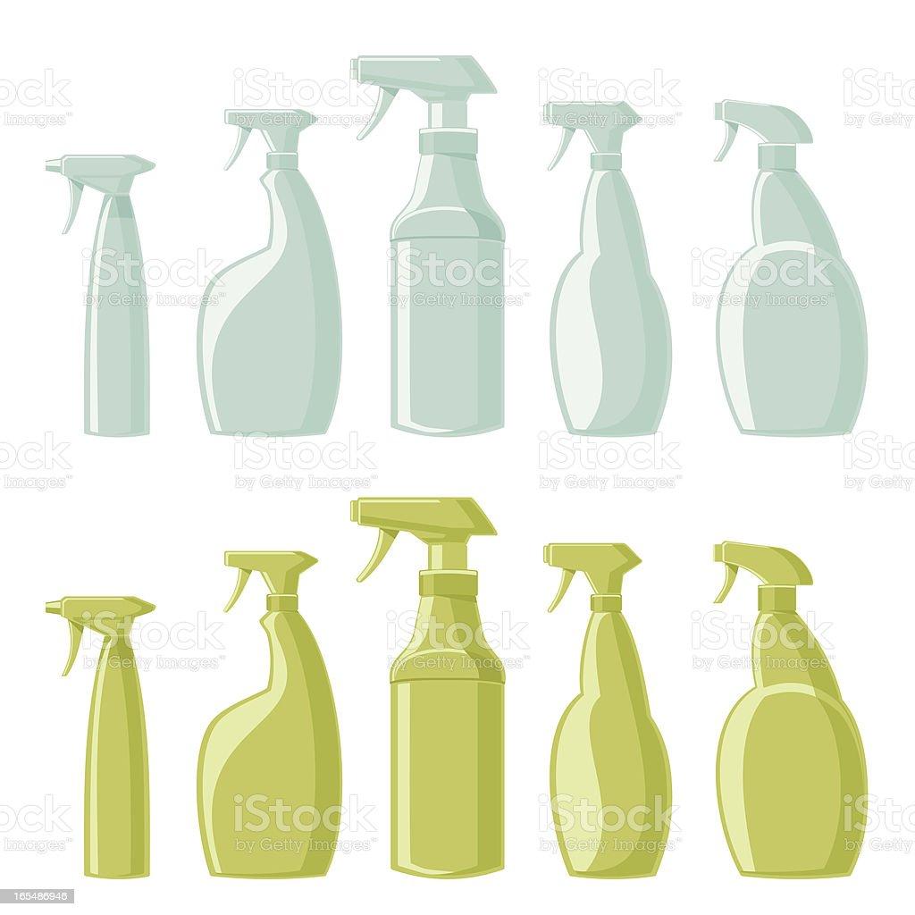 Assorted Spray Bottles vector art illustration