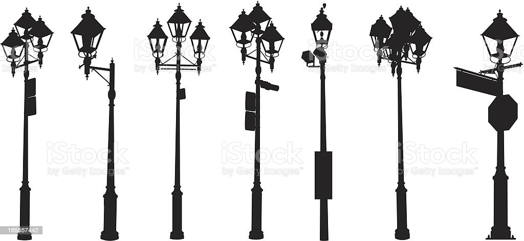 Assorted street lamps royalty-free stock vector art
