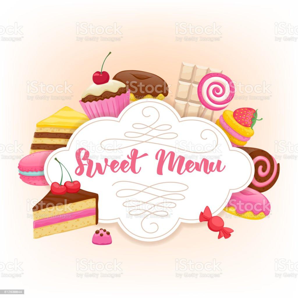 Assorted sweets colorful background. Sweet menu design vector art illustration