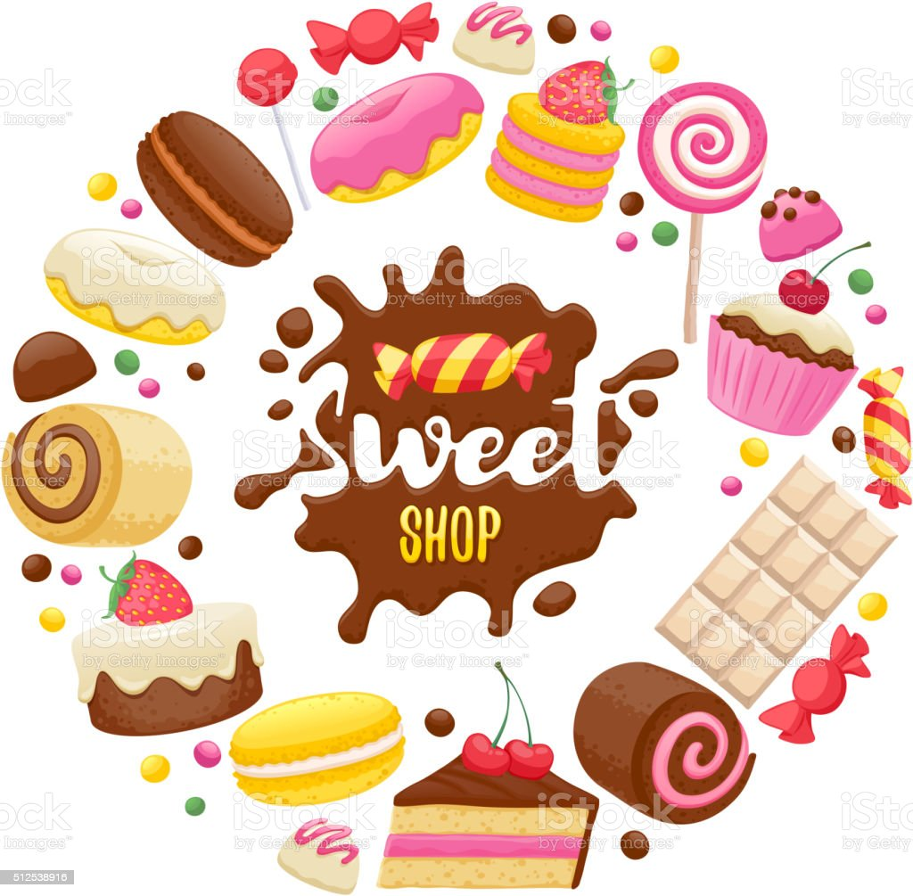 Assorted sweets colorful background vector art illustration
