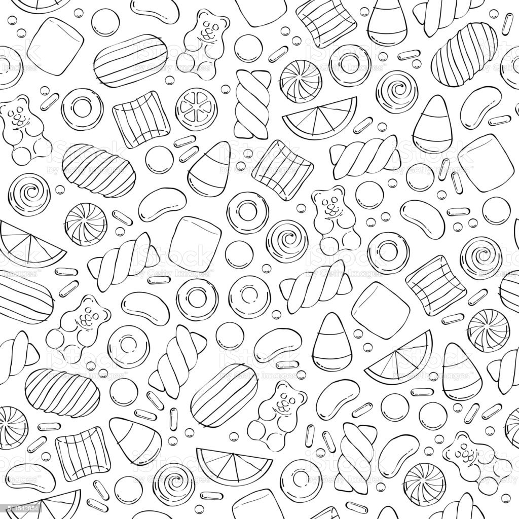 Assorted sweets seamless pattern vector art illustration