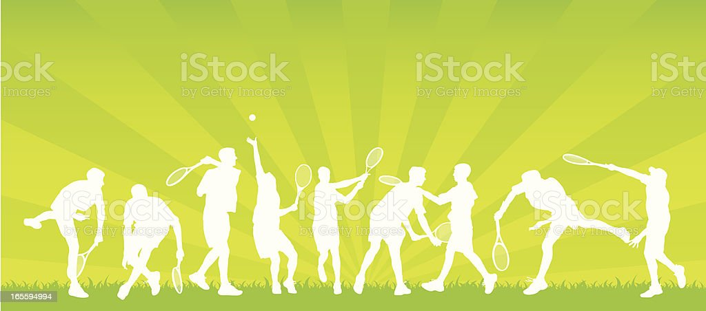 Assorted tennis players vector art illustration