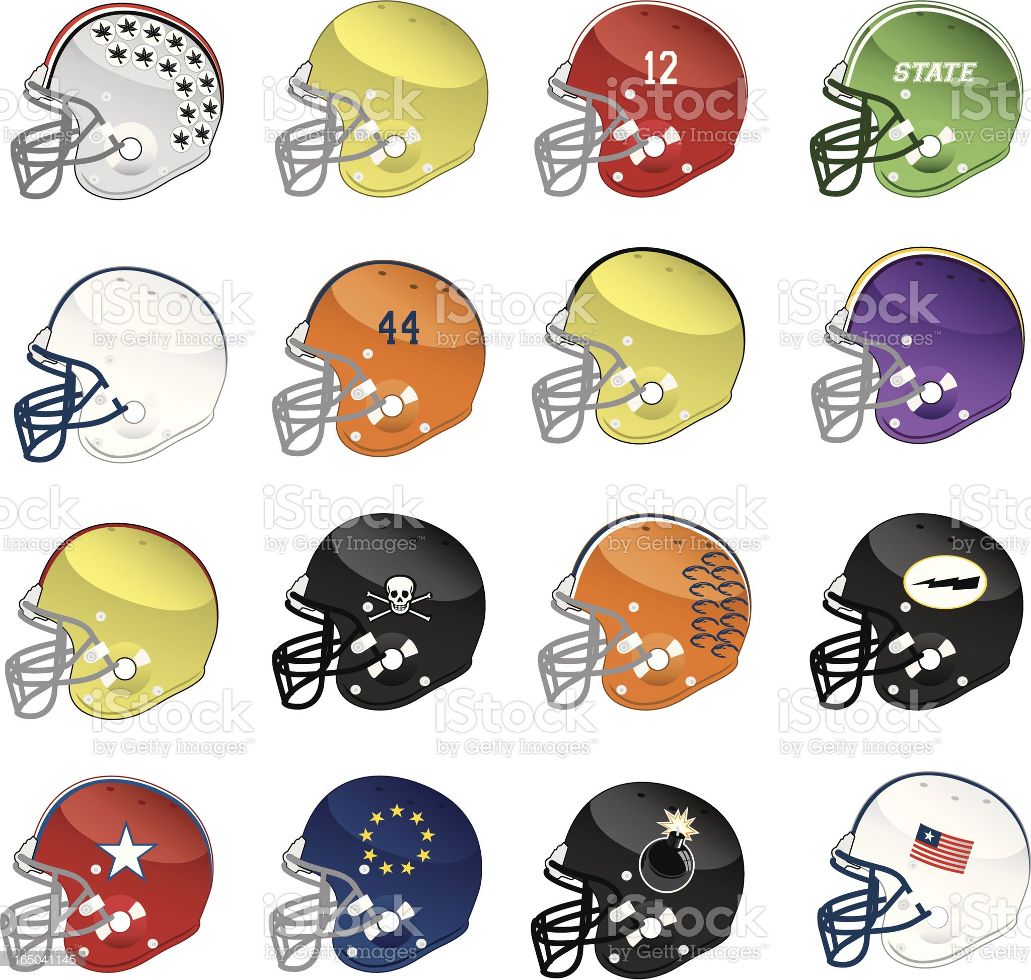 Assorted Vector Helmets Side View royalty-free stock vector art