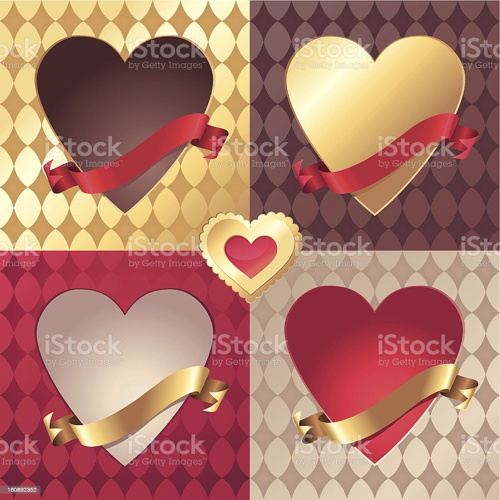 assorted vector Valentine heart banner and ribbon tag collection royalty-free stock vector art