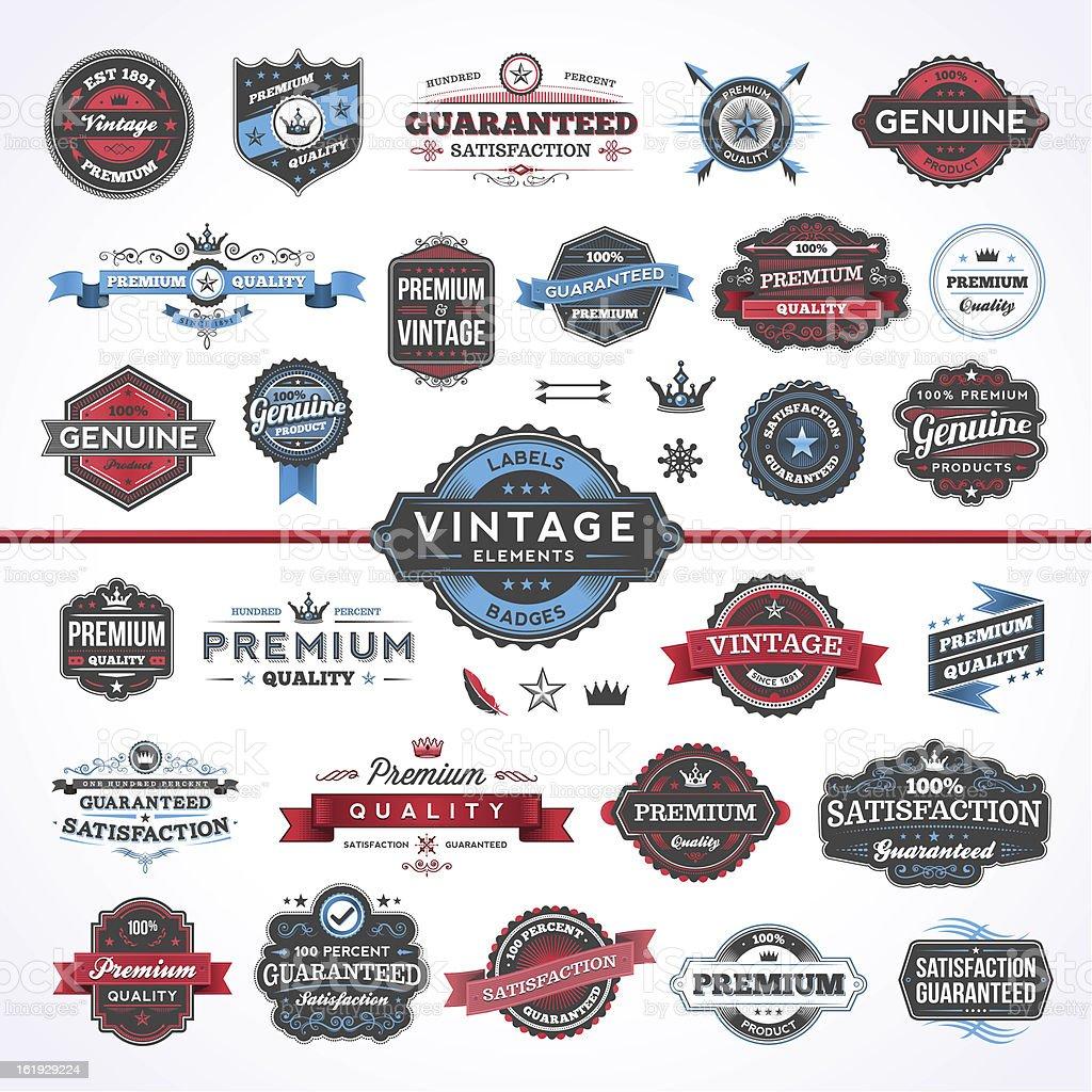 Assorted Vintage Elements - Set 1 vector art illustration