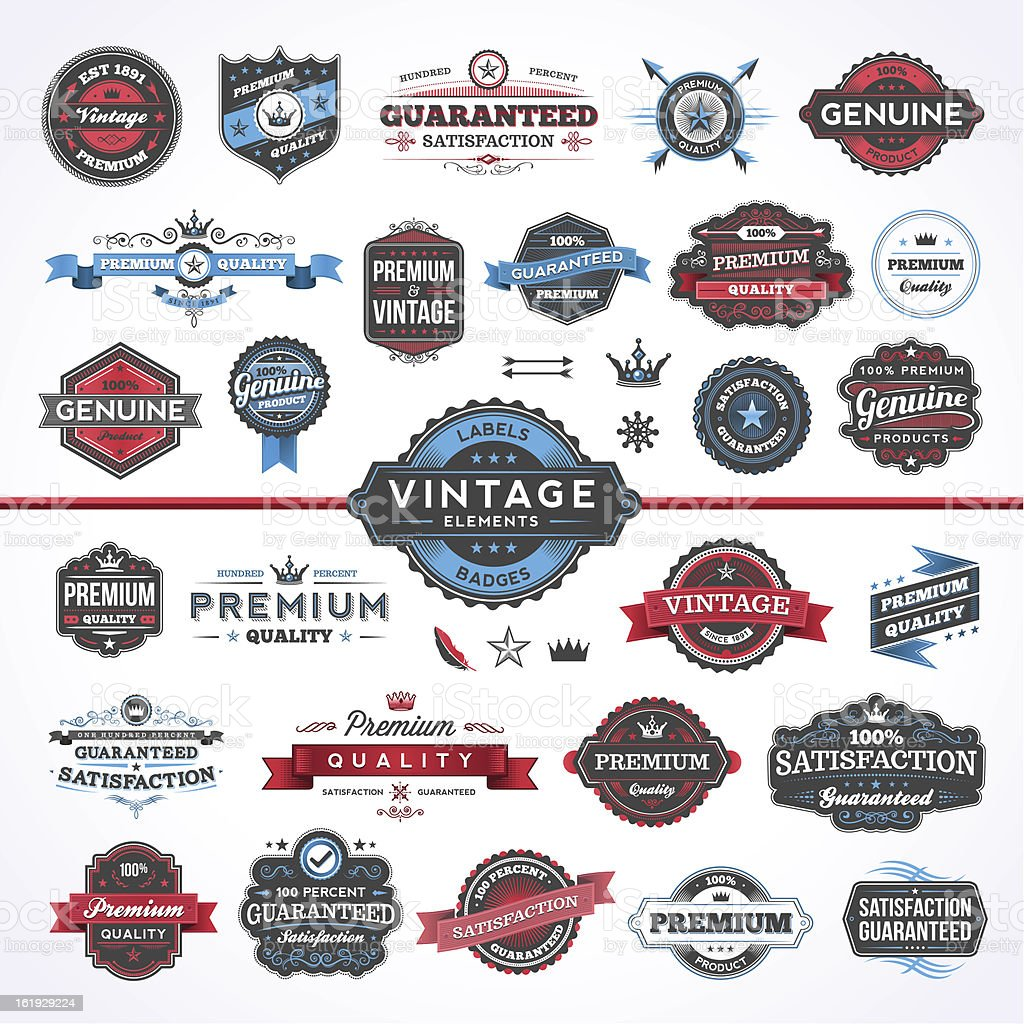 Assorted Vintage Elements - Set 1 vector art illustration