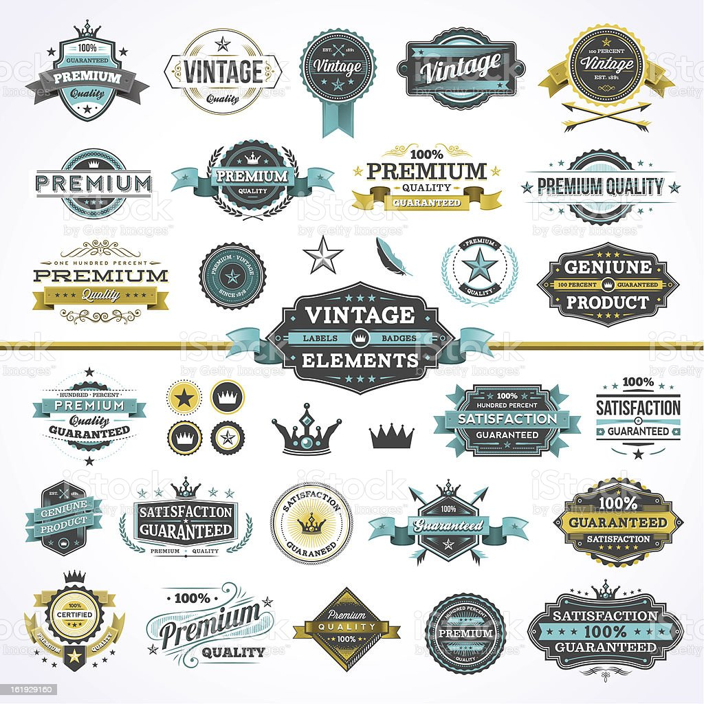Assorted Vintage Elements - Set 2 vector art illustration