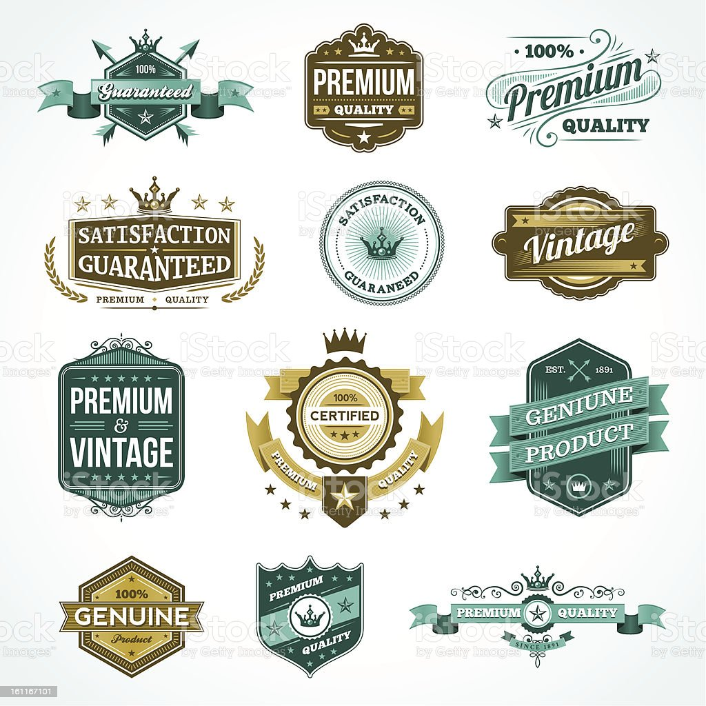 Assorted Vintage Elements - Teal & Yellow stock photo