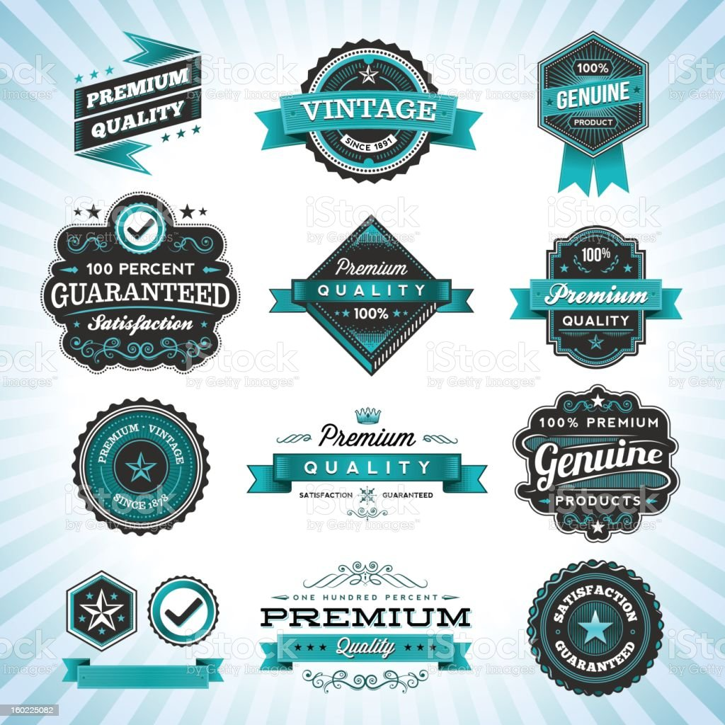 Assorted Vintage Labels royalty-free stock vector art