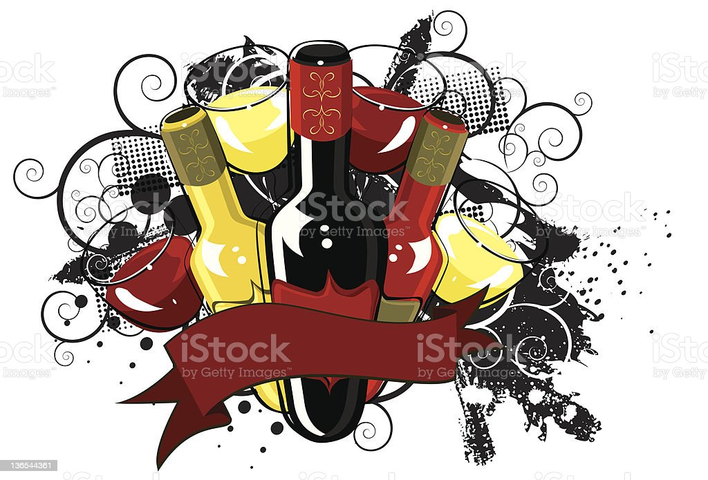 Assorted wine grunge banner vector art illustration