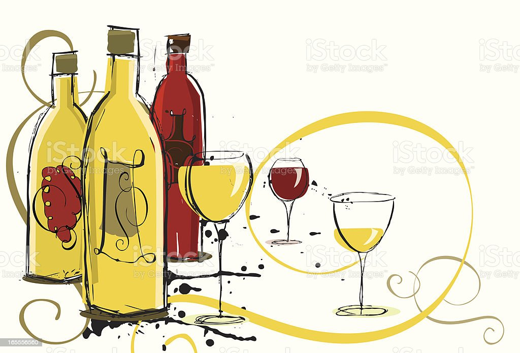 Assorted Wines vector art illustration
