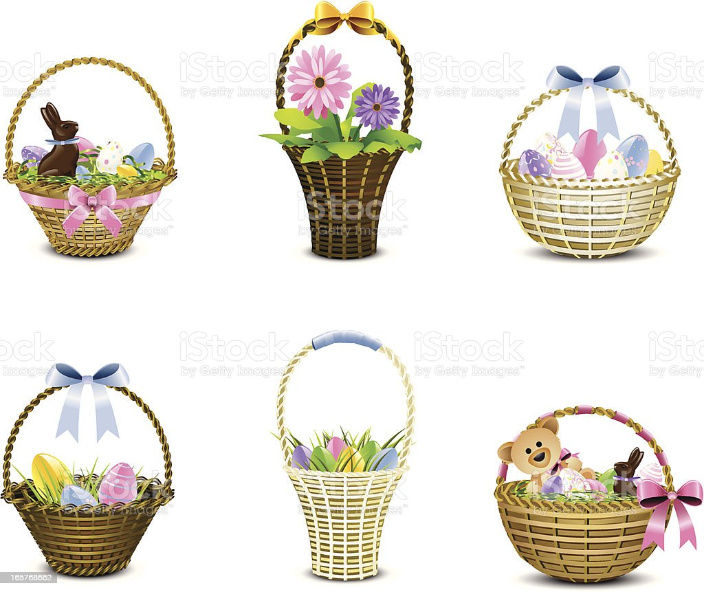 Assorted woven Easter baskets in various pastels vector art illustration