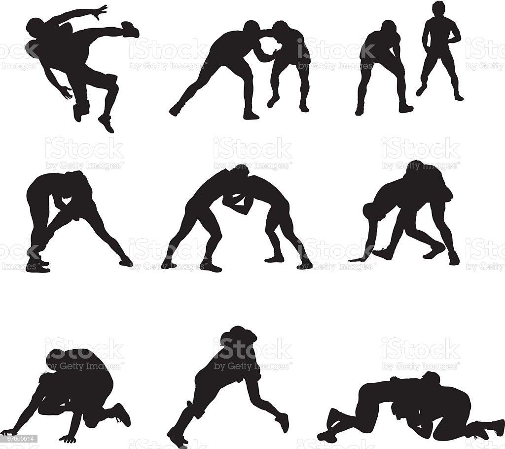 Assorted wrestling people vector art illustration