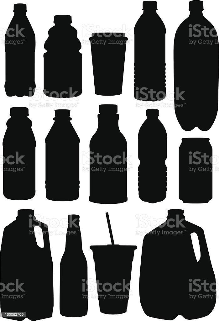 Assortment of black drinking containers vector art illustration