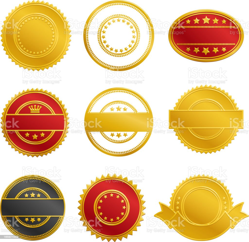 Assortment of blank seals in black, gold and red colors royalty-free stock vector art