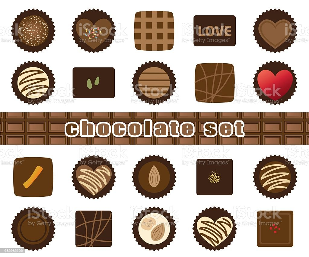 Assortment of chocolate illustration vector art illustration