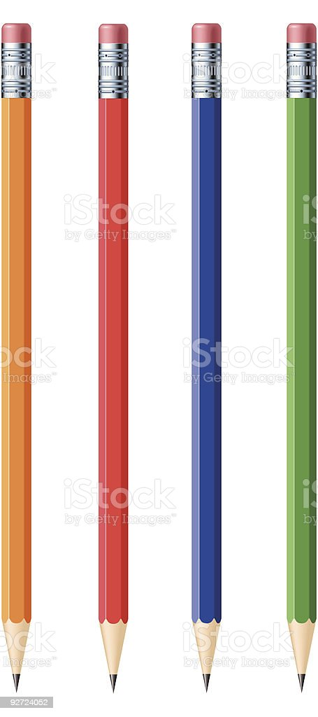 Assortment of colored writing pencils vector art illustration