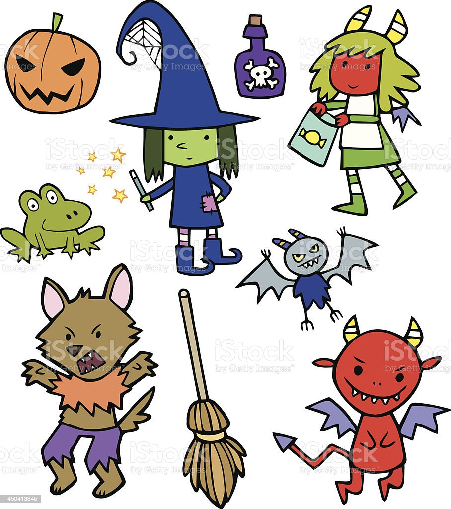 assortment of cute halloween cartoon characters stock vector art