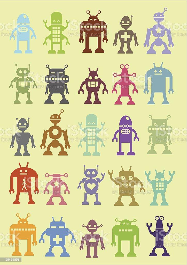 Assortment of cute robots royalty-free stock vector art