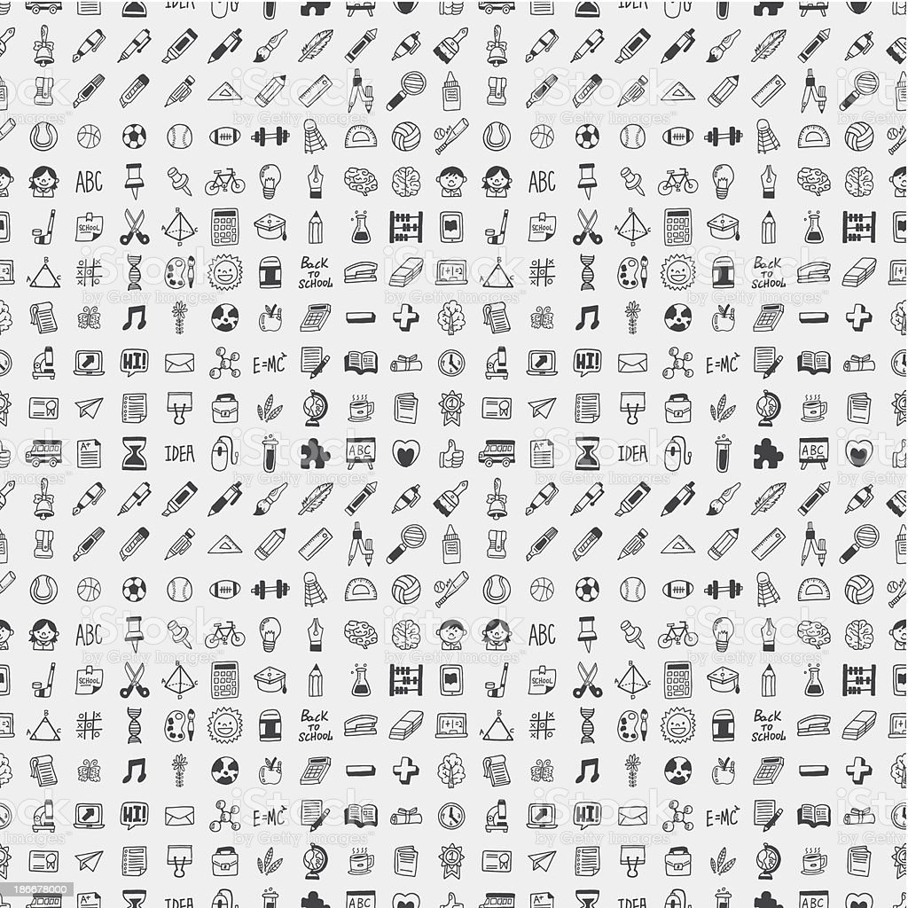 Assortment of education icons in black and white vector art illustration
