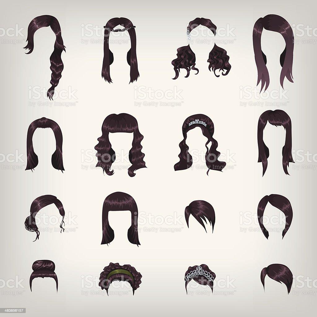Assortment of female brunette hair vector art illustration