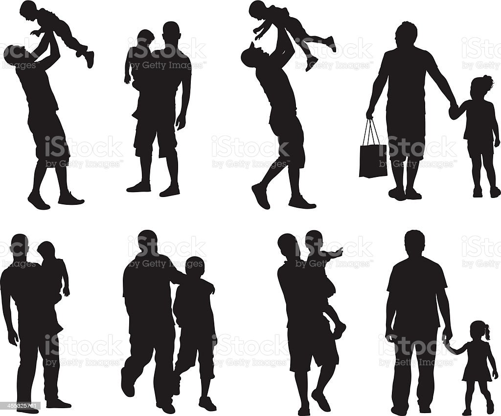 Assortment of silhouette images of father and children vector art illustration