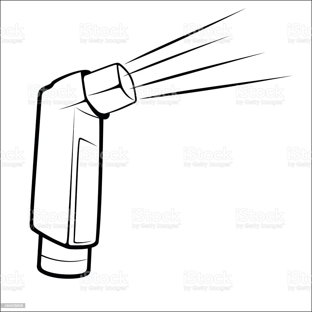 Asthma inhalator sketch royalty-free stock vector art