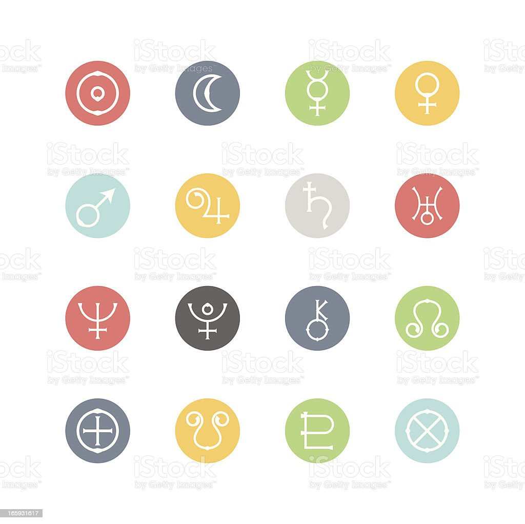 Astrological Planets Icons : Minimal Style vector art illustration