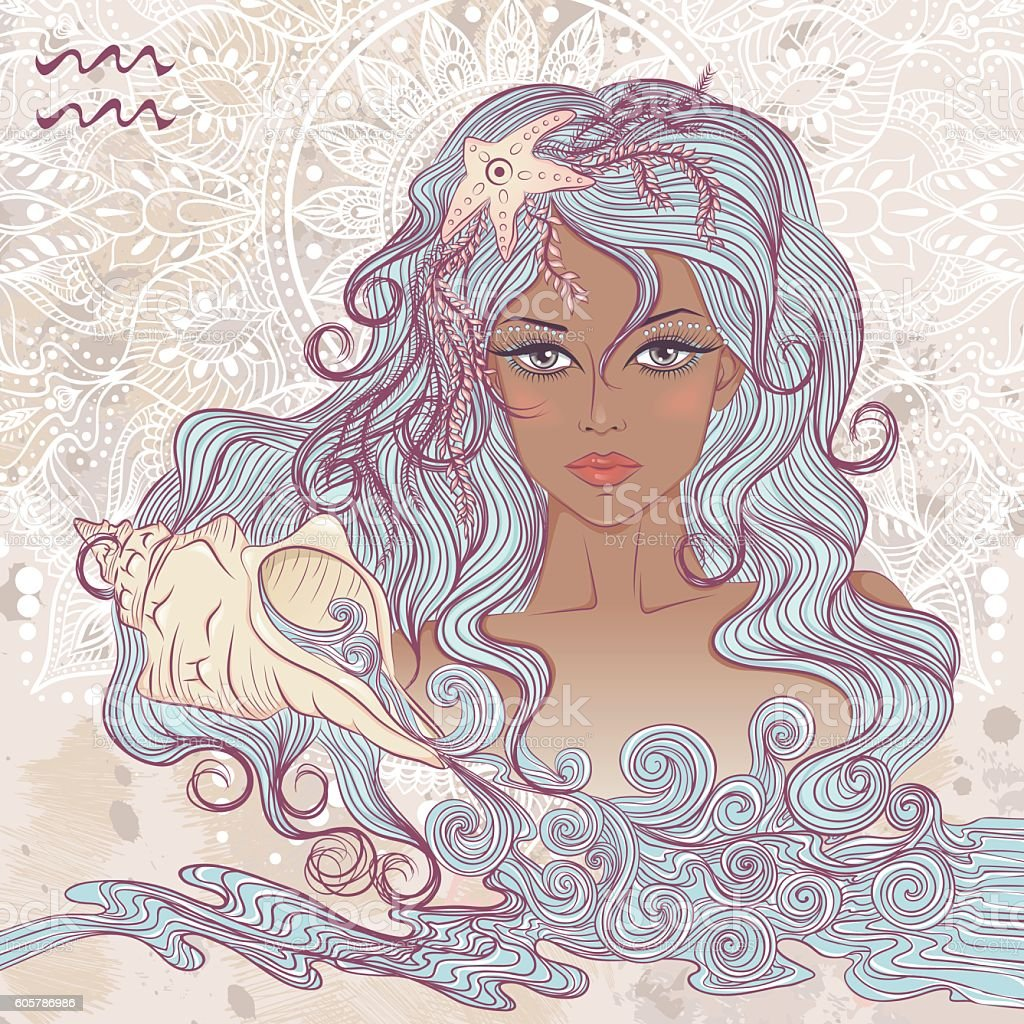 Astrological sign of Aquarius as portrait of beautiful african girl vector art illustration