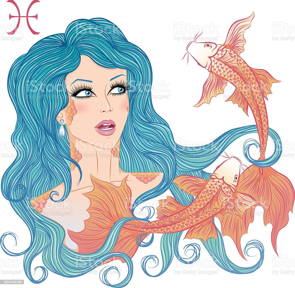 Astrological sign of Pisces as a beautiful girl vector art illustration