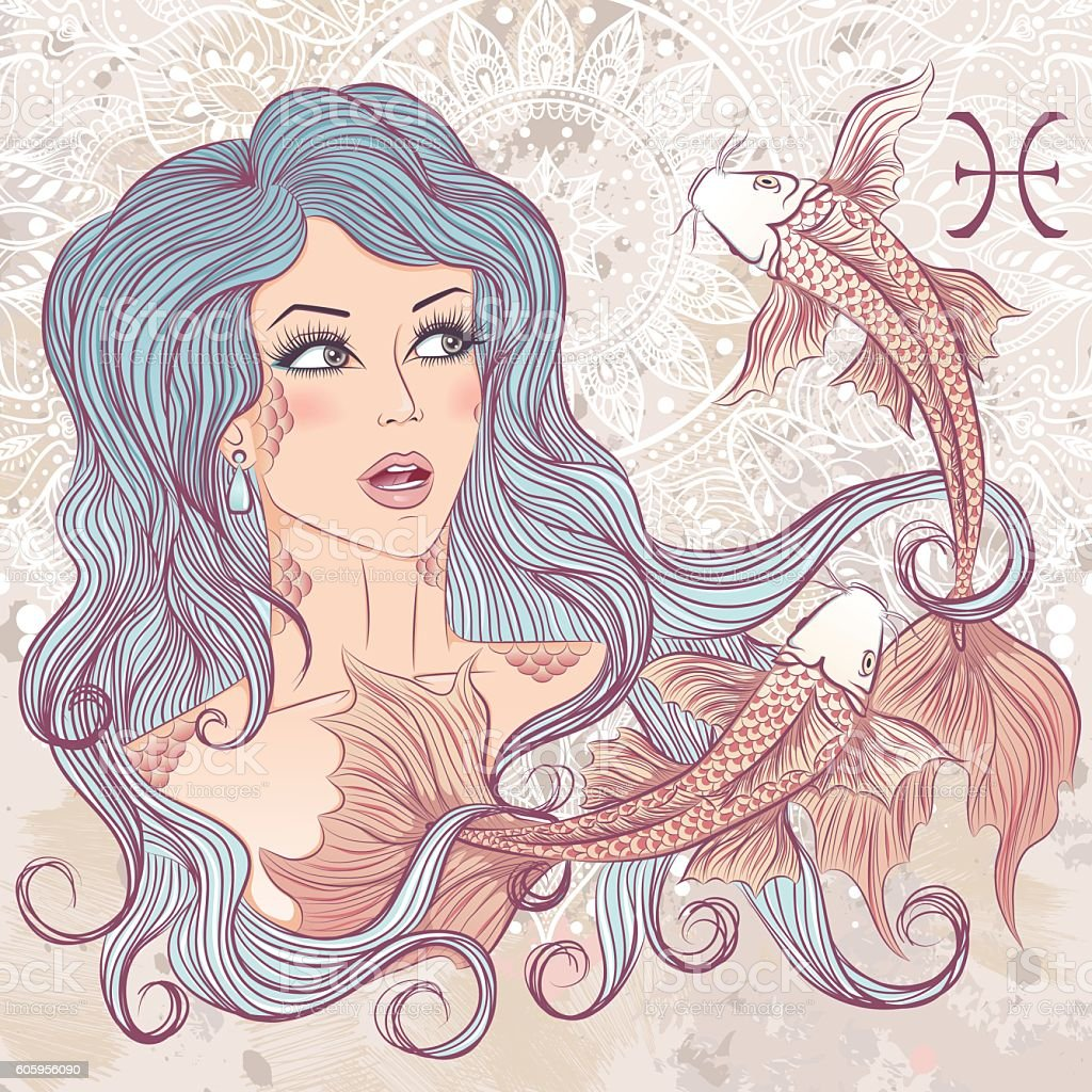 Astrological sign of Pisces as a portrait of beautiful girl vector art illustration